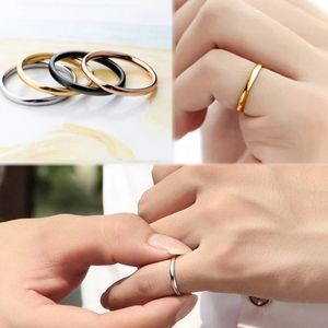 Titanium Steel 2mm Thin Simple Band Gold Ring